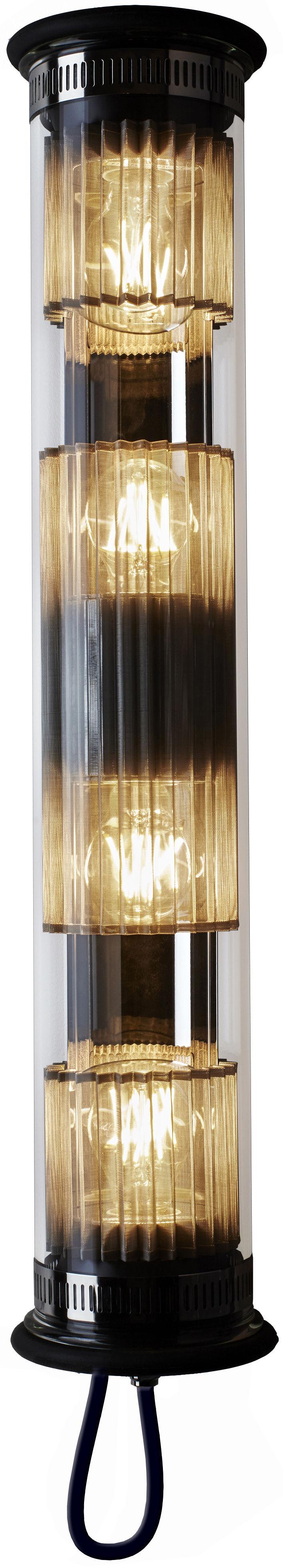 Leuchten - Wandleuchten - In The Tube 120-700 Outdoor-Wandleuchte / L 72 cm - DCW éditions - Silberfarben - rostfreier Stahl, Verre borosilicaté