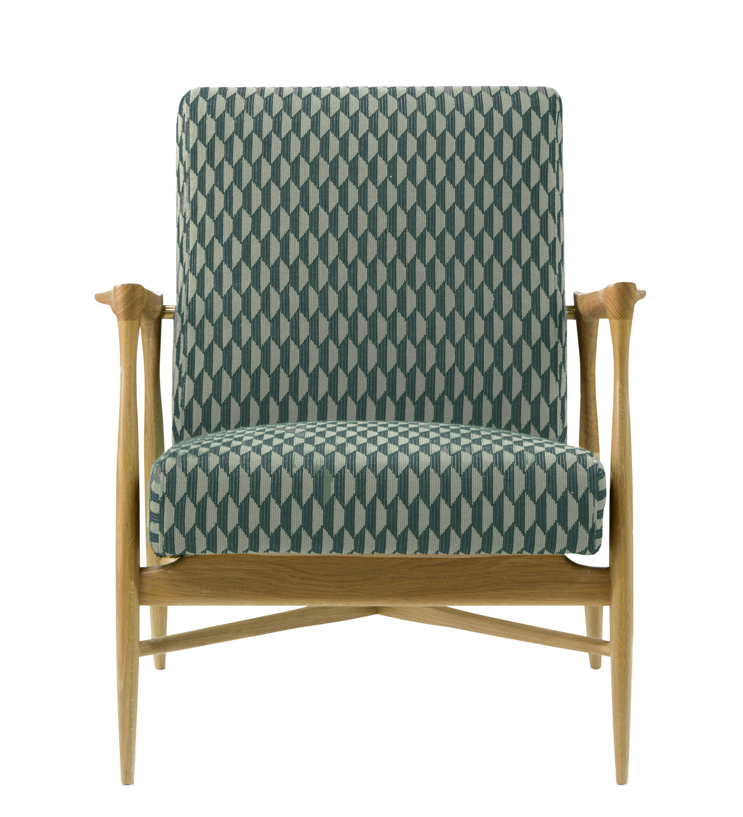 Furniture - Armchairs - Floating Padded armchair - / Fabric by RED Edition - Baku Celadon / Oak - Cotton, High resilience foam, Solid oak