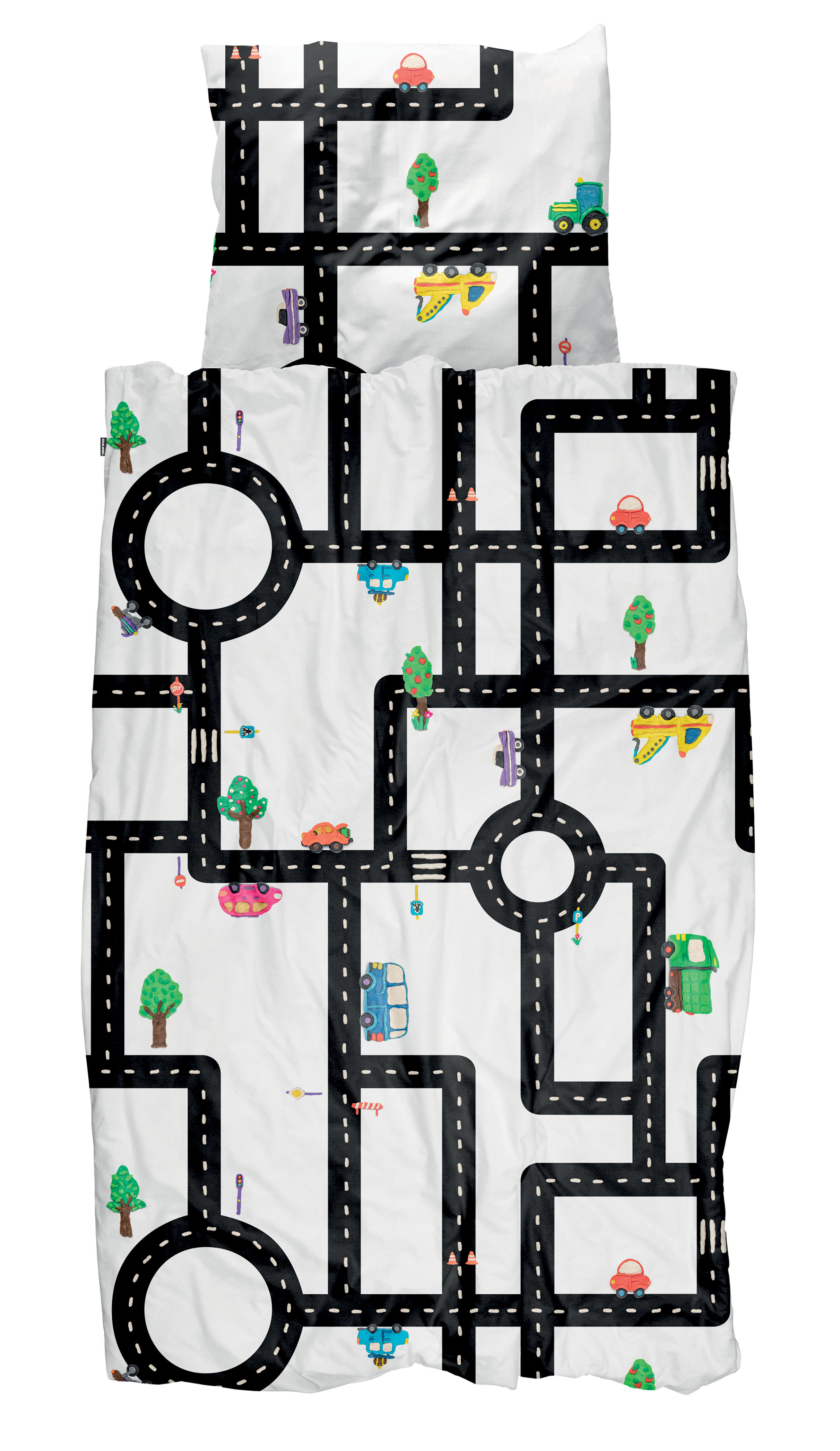 Déco - Pour les enfants - Parure de lit 1 personne Clay Traffic / 140 x 200 cm - Snurk - Routes - Percale de coton