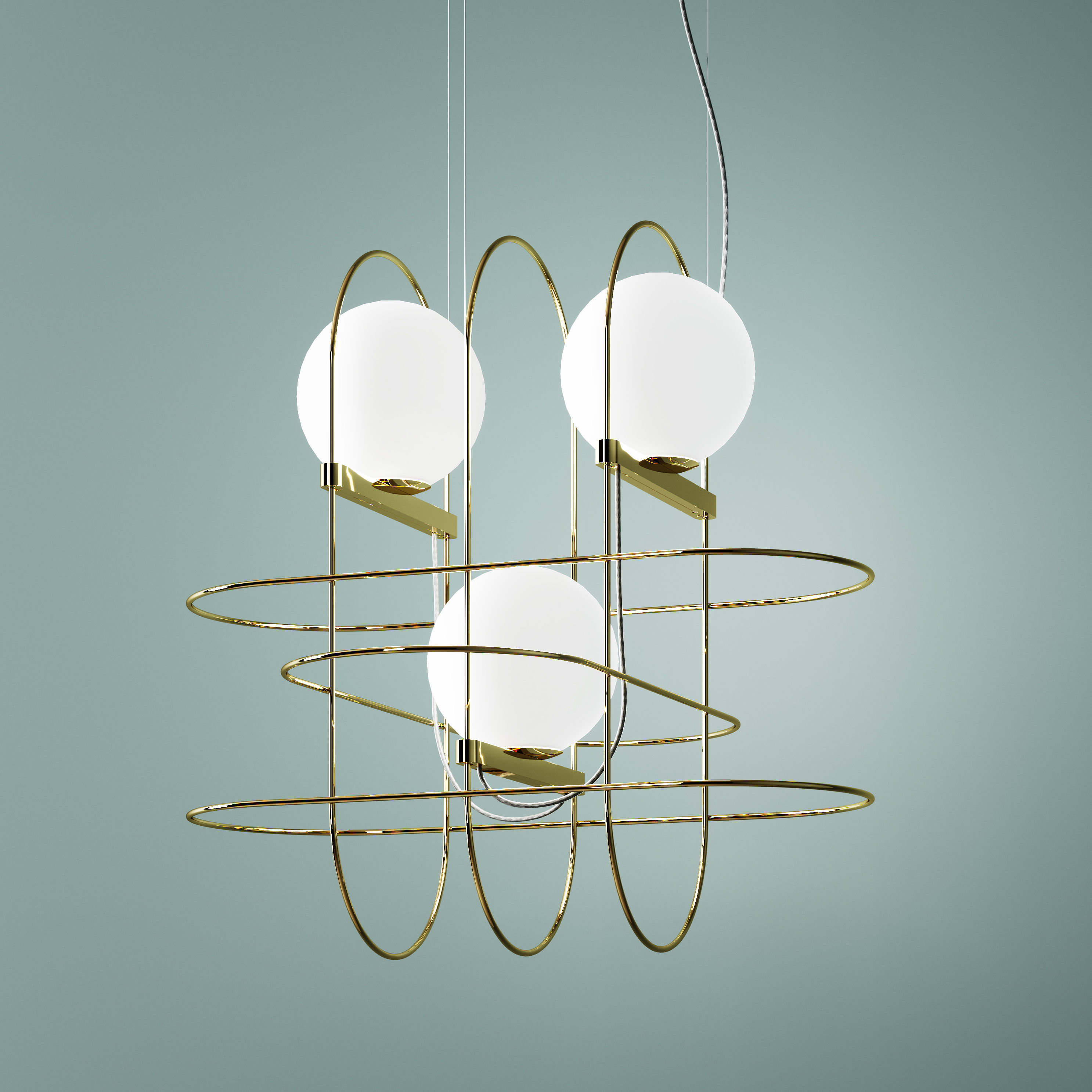 Lighting - Pendant Lighting - Setareh triple Pendant - / LED - W 45 x H 45 cm by Fontana Arte - Gold, White - Metal, Mouth blown glass