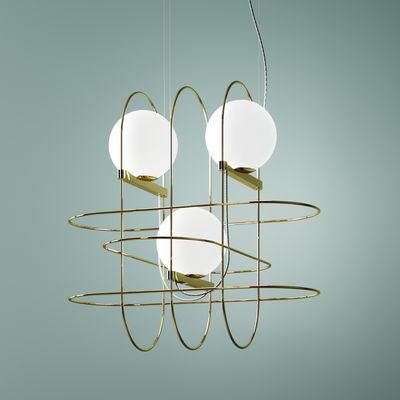 Setareh triple Pendelleuchte / LED - B 45 cm x H 45 cm - Fontana Arte - Weiß,Gold