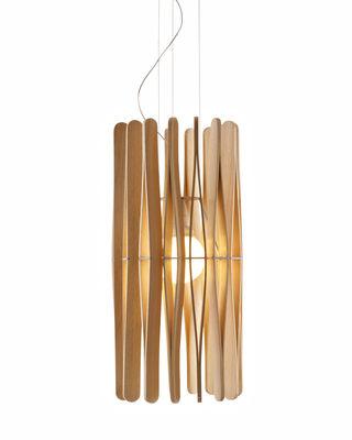 Leuchten - Pendelleuchten - Stick 01 Pendelleuchte / Ø 33 x H 65 cm - Fabbian - Holz, hell - Ayous-Holz, lackiertes Metall