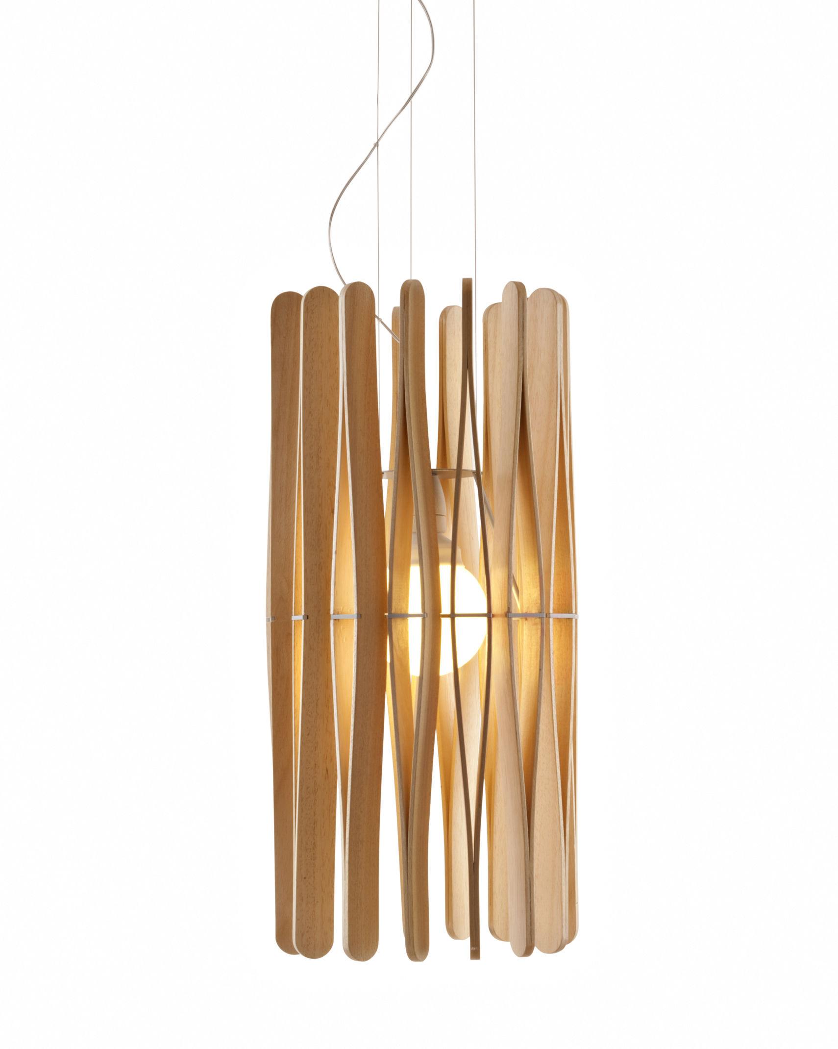 Leuchten - Pendelleuchten - Stick 01 Pendelleuchte / Ø 33 x H 65 cm - Fabbian - Holz, hell - Bois Ayous, lackiertes Metall