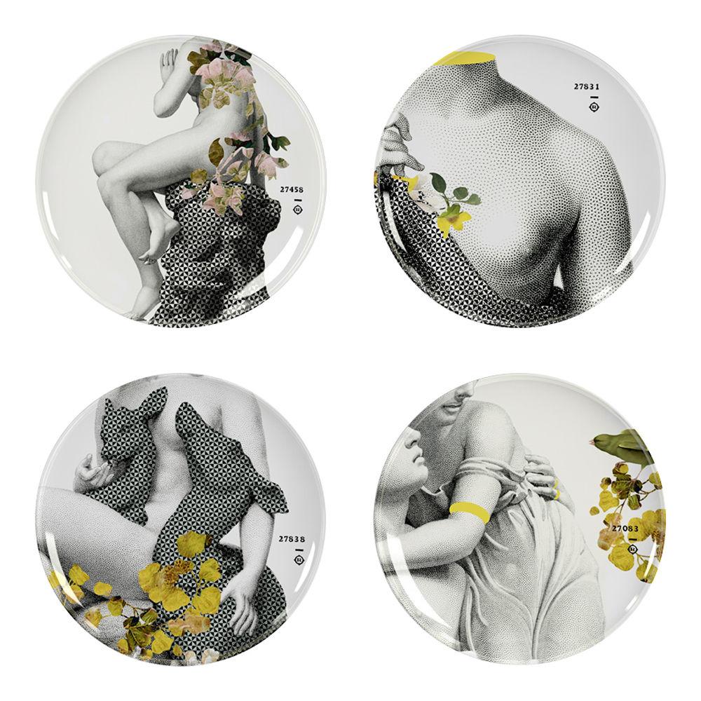 Tavola - Piatti  - Piatto Yuan Parnasse / Set da 4 - Ibride - Grigio / Motivi grigi & gialli (Parnasse) - Melamina