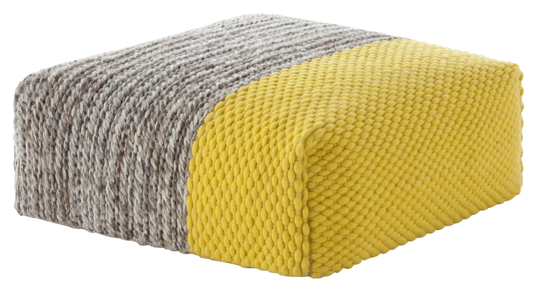 Möbel - Sitzkissen - Mangas Space Plait Sitzkissen / 90 x 90 x H 30 cm - Gan - Gelb - Laine vierge, Mousse caoutchouc