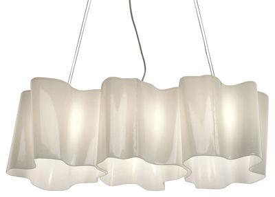Illuminazione - Lampadari - Sospensione Logico grande - 3 elementi in linea di Artemide - Bianco - grande - vetro soffiato