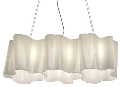 Suspension Logico grande 3 éléments en ligne - Artemide blanc en verre