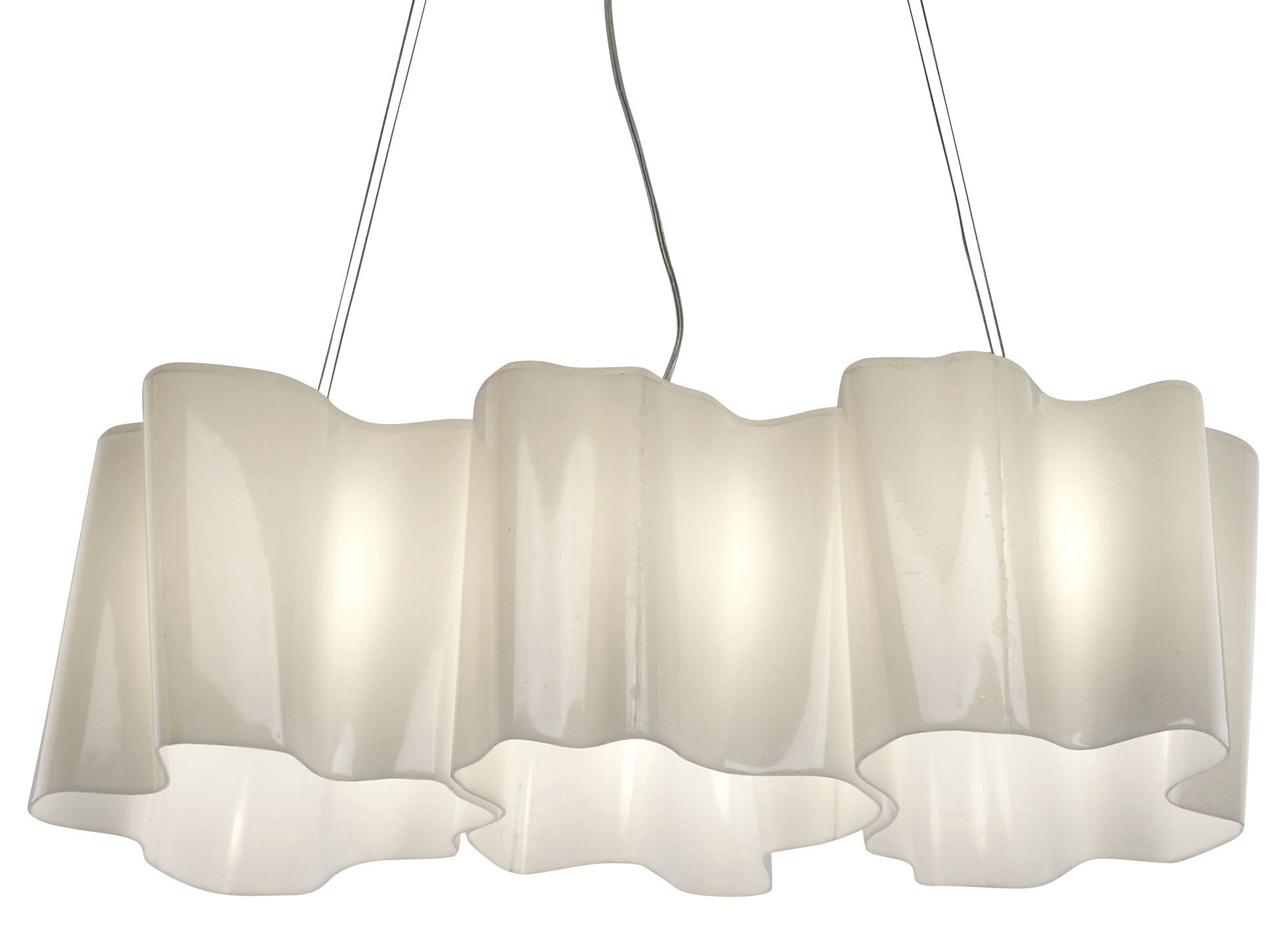 Luminaire - Suspensions - Suspension Logico grande 3 éléments en ligne - Artemide - Blanc - grande - Verre soufflé