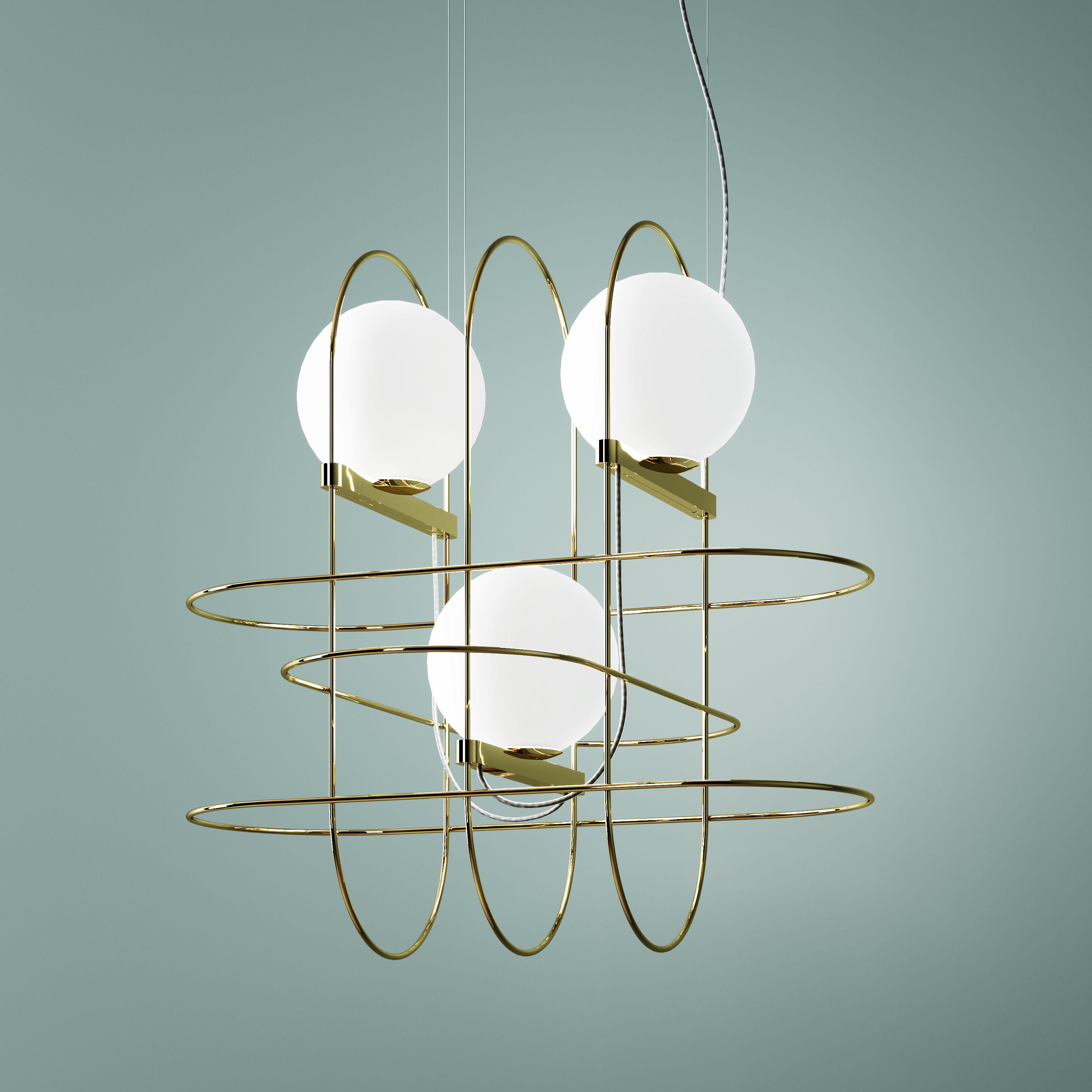 Luminaire - Suspensions - Suspension Setareh triple / LED - Larg 45 x H 45 cm - Fontana Arte - Or, Blanc - Métal, Verre soufflé bouche
