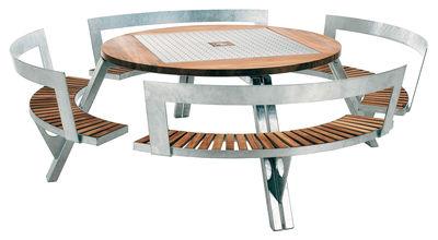 Table de jardin Gargantua / Ø 146 cm à 200 cm + Banc réglable en ...