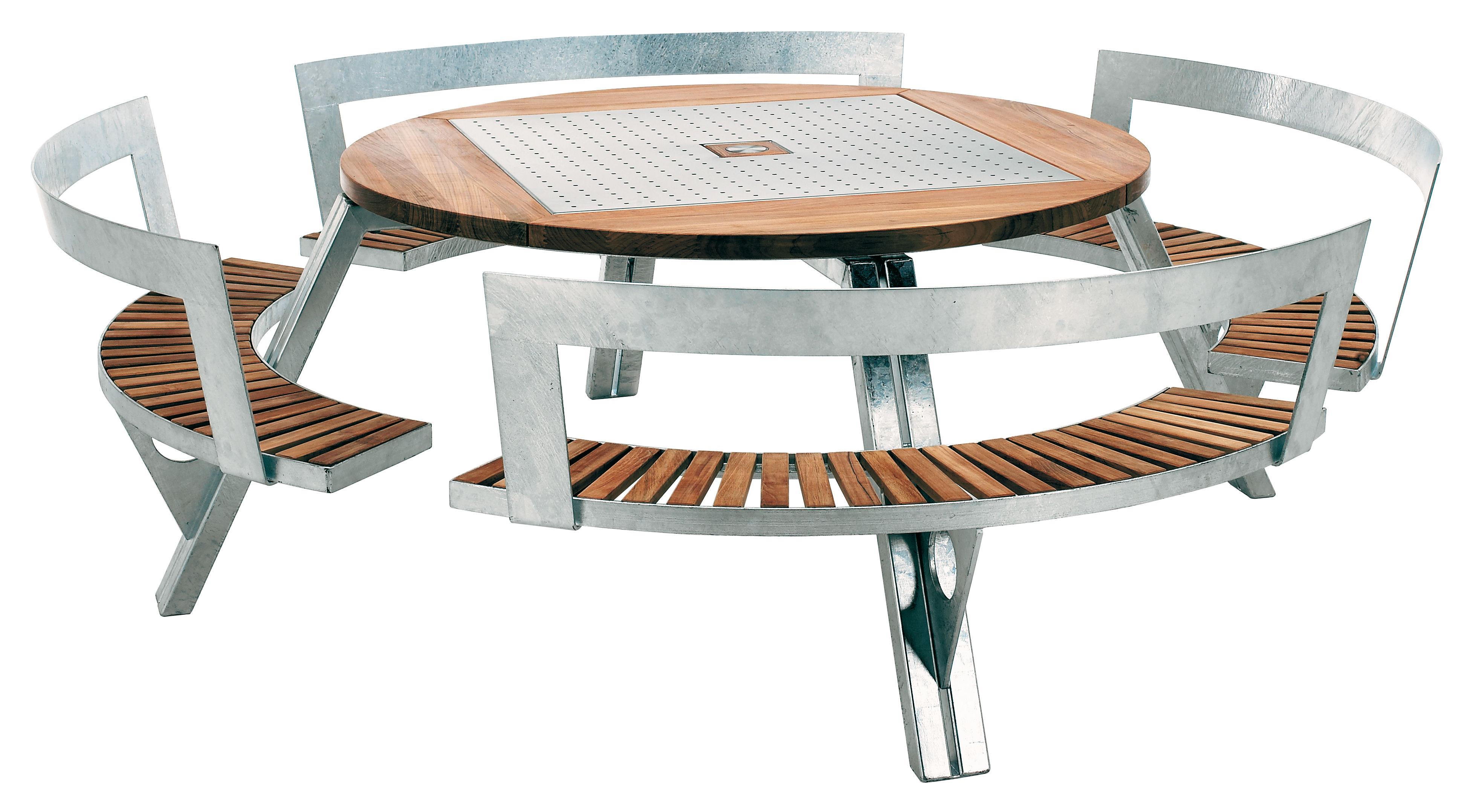 table de jardin gargantua 146 cm 200 cm banc r glable en hauteur teck acier extremis. Black Bedroom Furniture Sets. Home Design Ideas
