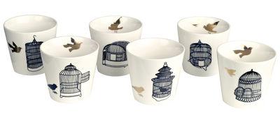 Tischkultur - Tassen und Becher - Freedom Birds Tasse / 6er-Set - Pols Potten - Käfig schwarz / Vogel goldfarben - Lackiertes Porzellan