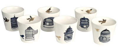 Tasse Freedom Birds / Set de 6 - Pols Potten noir,or en céramique