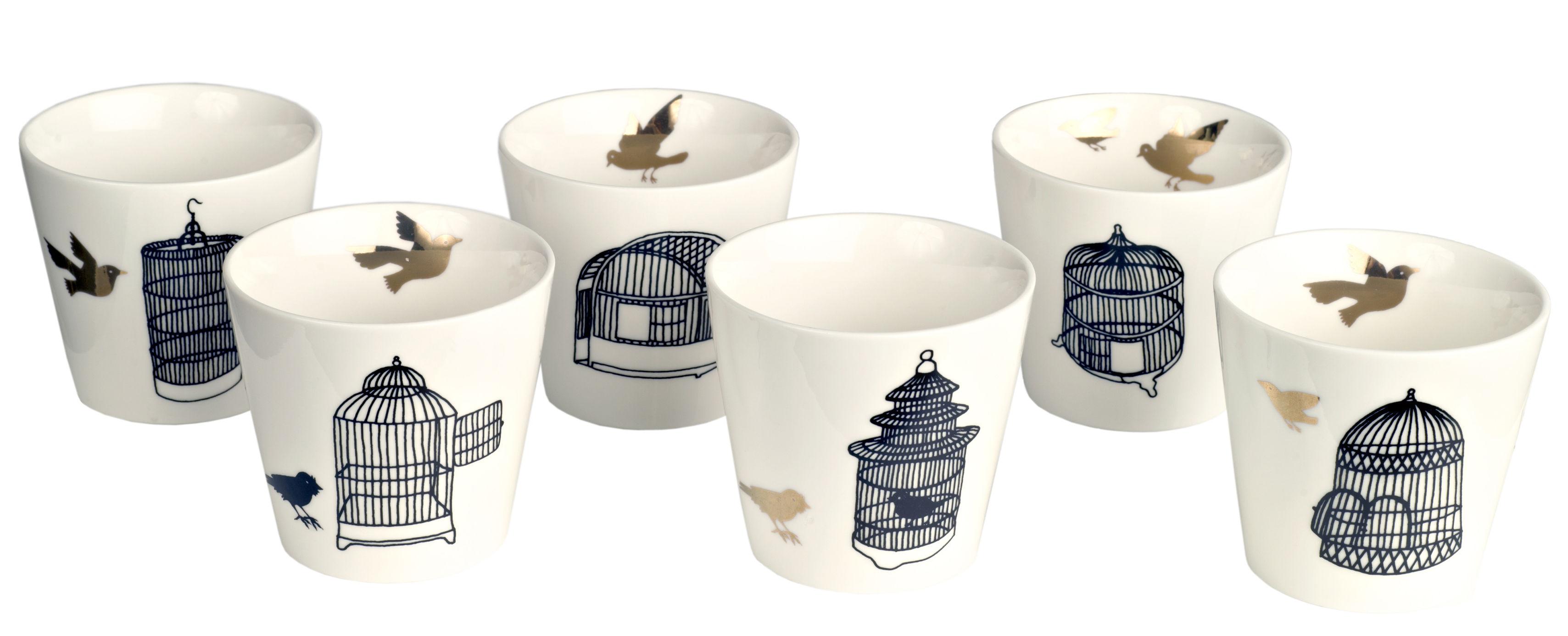 Tavola - Tazze e Boccali - Tazza Freedom Birds - / Set da 6 di Pols Potten - Gabbia nera / Uccellino dorato - Porcellana verniciata
