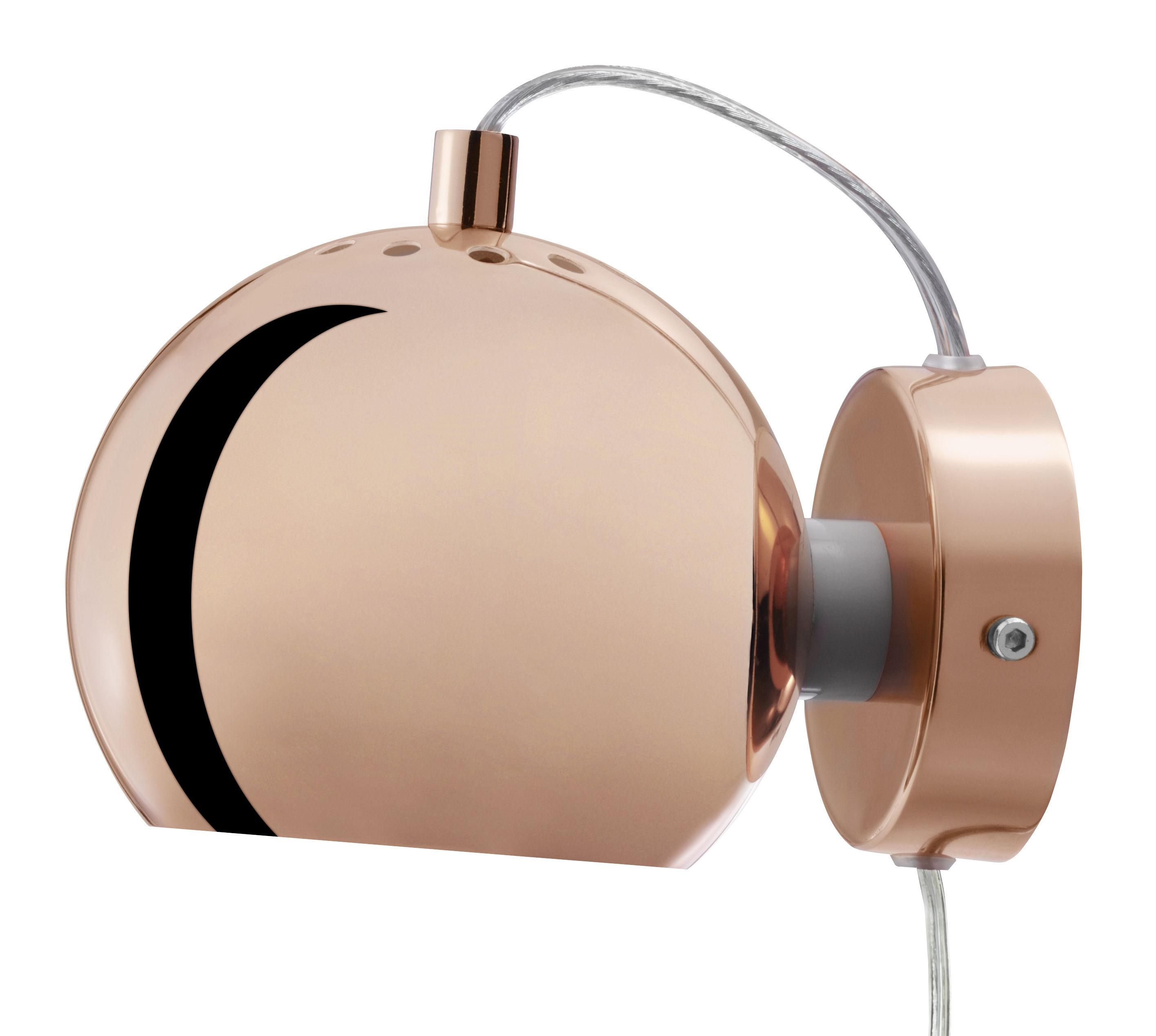Luminaire - Appliques - Applique avec prise Ball / Ø 12 cm - Réédition 1968 - Frandsen - Cuivre - Métal finition cuivre