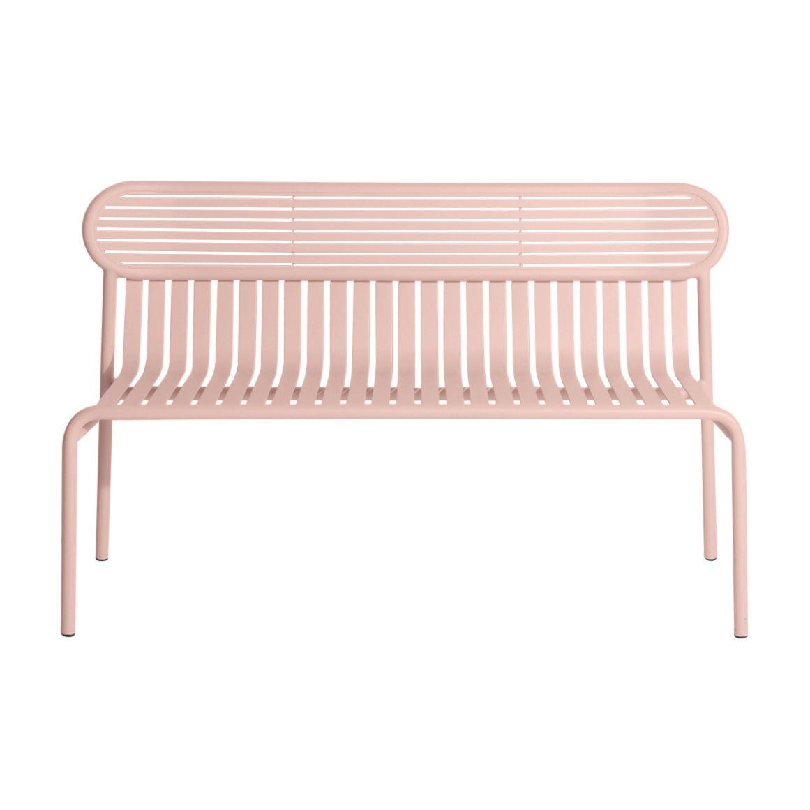 Möbel - Bänke - Week-End Bank mit Rückenlehne / Aluminium - L 121 cm - Petite Friture - Rose Blush - Aluminium, thermolackiert und expoxidbeschichtet