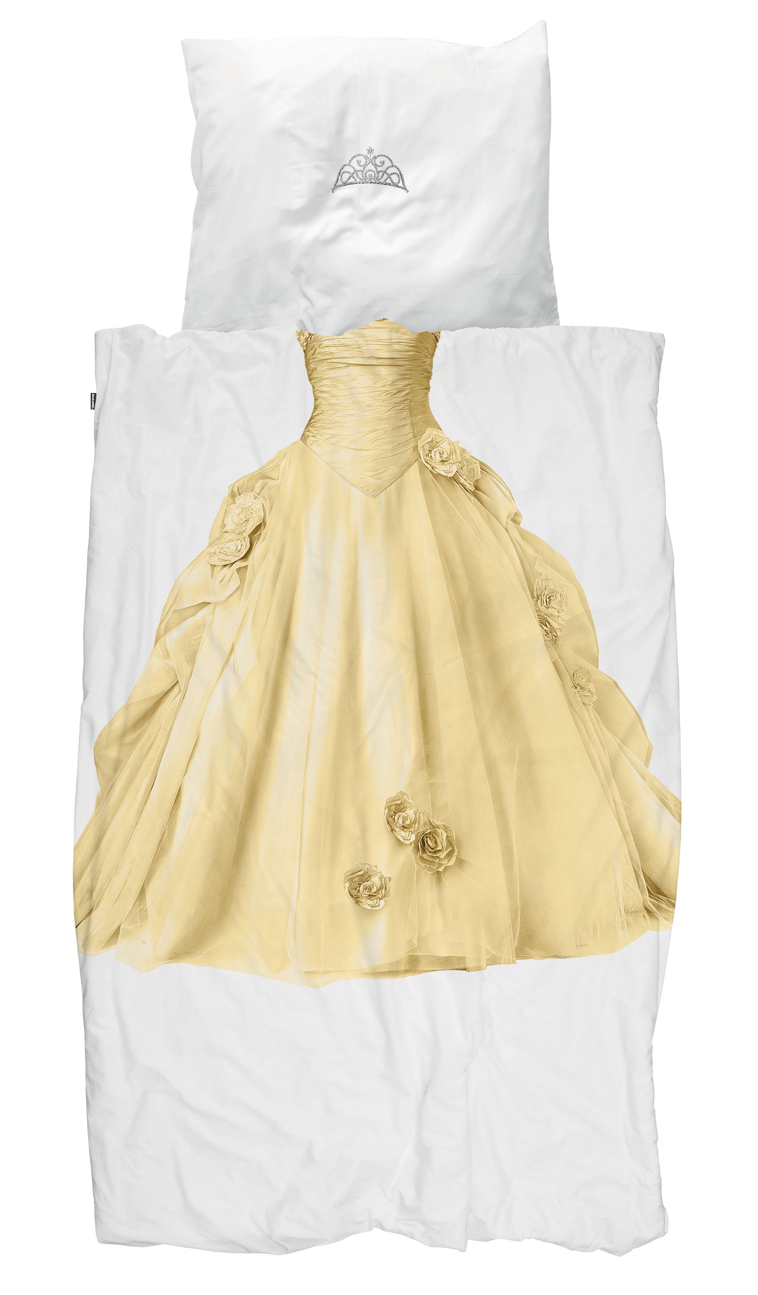 Decoration - Children's Home Accessories - Princesse Bedlinen set for 1 person - / 140 x 200 cm by Snurk - Princess / Yellow - Cotton