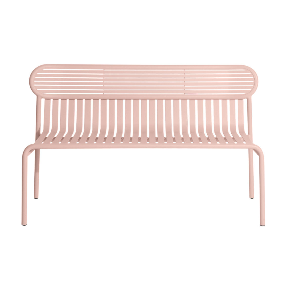 Furniture - Benches - Week-End Bench with backrest - / Aluminium - L 121 cm by Petite Friture - Blush pink - Powder coated epoxy aluminium