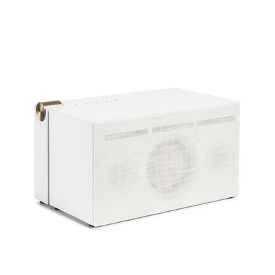 Trends - Home sweet home - PR 01 Bluetooth speaker - / With Active Pressure Reflex technology by La Boîte Concept - White - Aluminium, Fabric, Wood