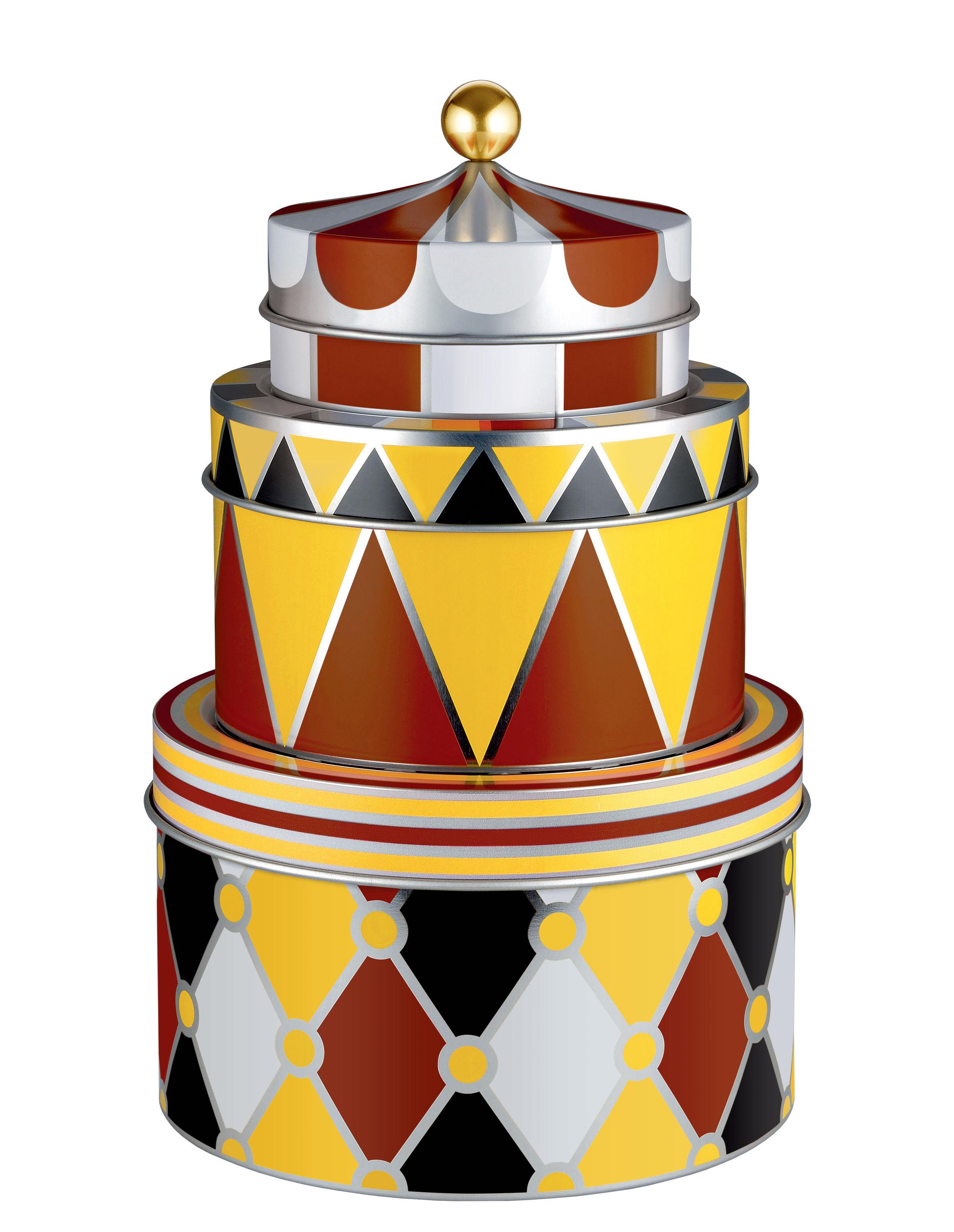 Cuisine - Boîtes, pots et bocaux - Boîte Circus / Set de 3 - Métal - Alessi - 3 boîtes / Multicolores - Fer blanc peint