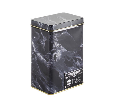 Kitchenware - Kitchen Storage Jars - Alumarble Small Box - / Marble effect metal by Diesel living with Seletti - Small / Black - Metal