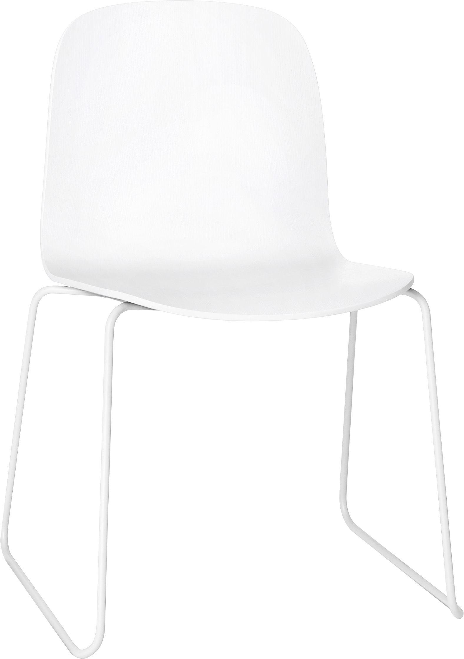 Mobilier - Chaises, fauteuils de salle à manger - Chaise empilable Visu / Bois - Pied traineau - Muuto - Structure blanche / assise blanche - Acier peint, Chêne verni