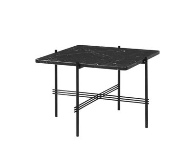 Furniture - Coffee Tables - TS Coffee table - / Gamfratesi - 55 x 55 cm - Marble by Gubi - Black marble/Black legs - Lacquered metal, Marquina marble
