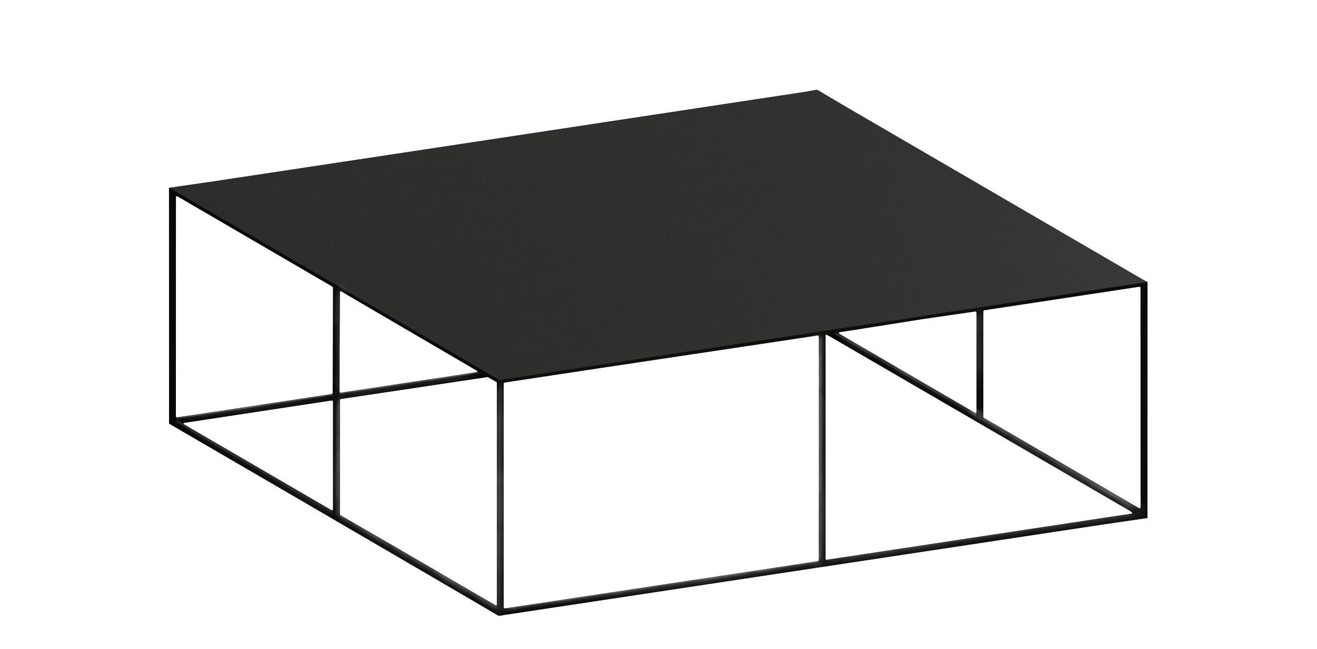 Möbel - Couchtische - Slim Irony Couchtisch / 100 x 100 x H 34 cm - Zeus - Schwarzbraun - bemalter Stahl