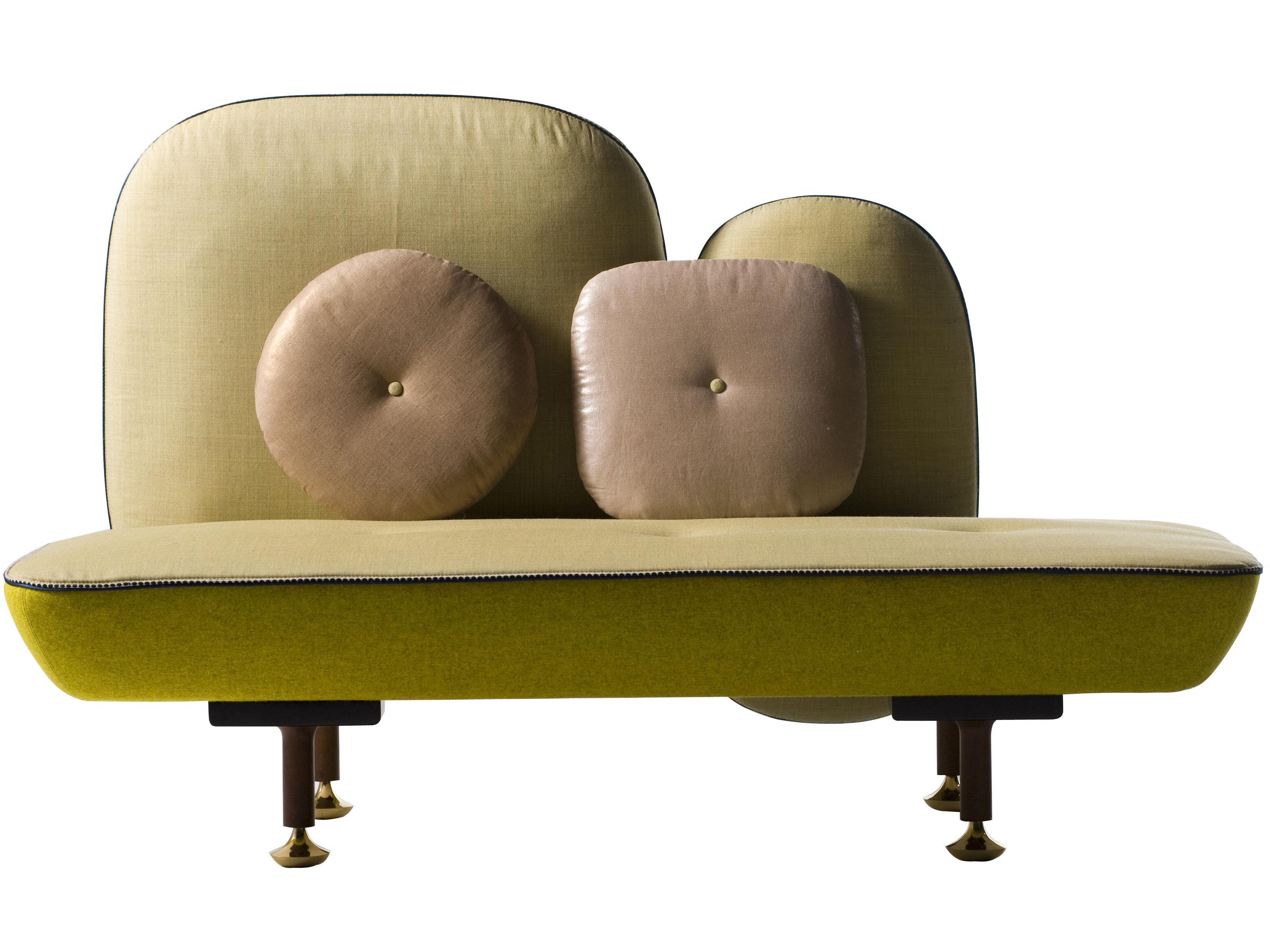 Arredamento - Divani moderni - Divano destro My Beautiful Backside - L 160 cm di Moroso - Giallo/verde - Lana, Metallo, Noce