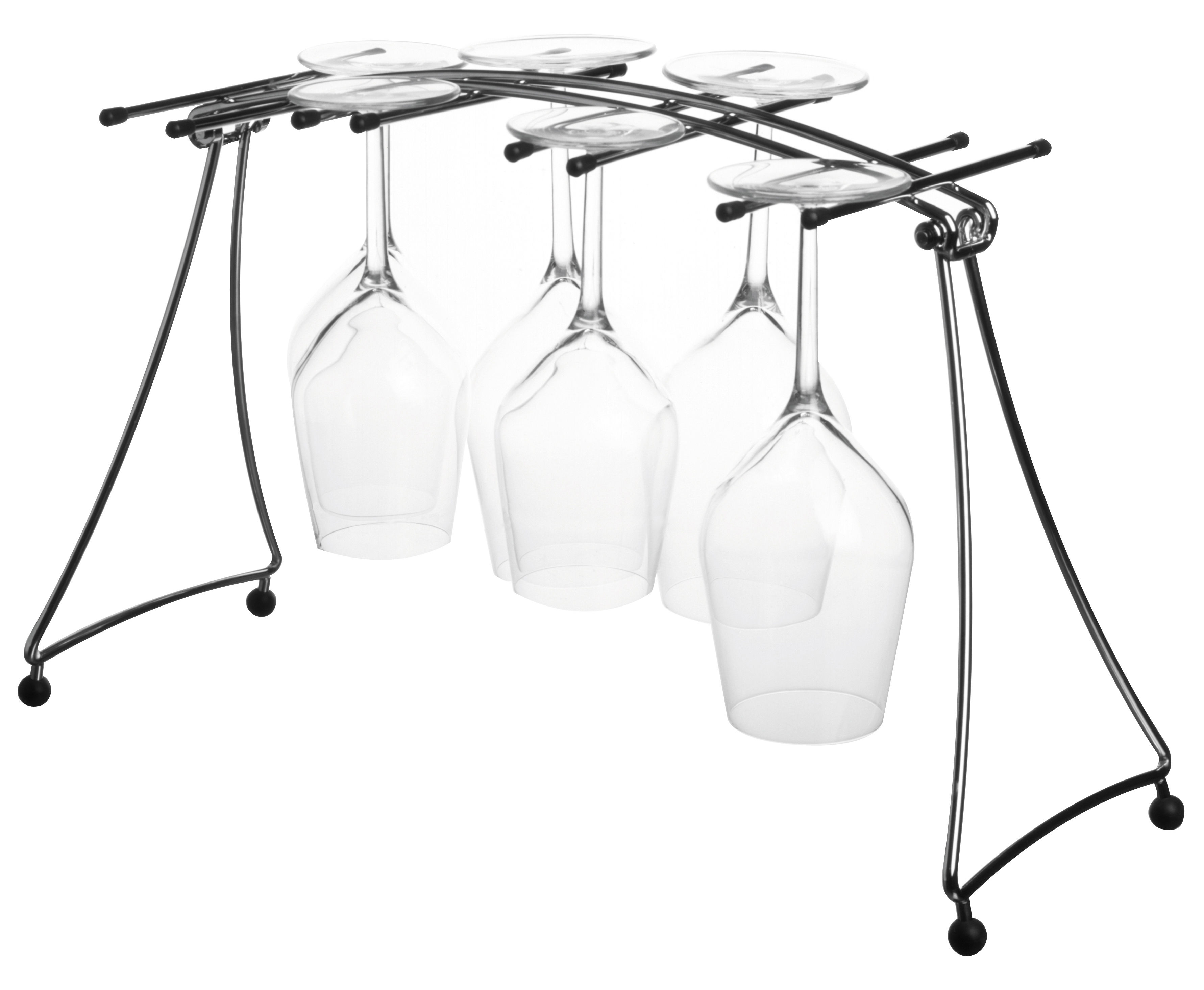 Kitchenware - Cool Kitchen Gadgets - Draining rack - for wine glasses - Foldable by L'Atelier du Vin - Metal / black - Metal, Rubber