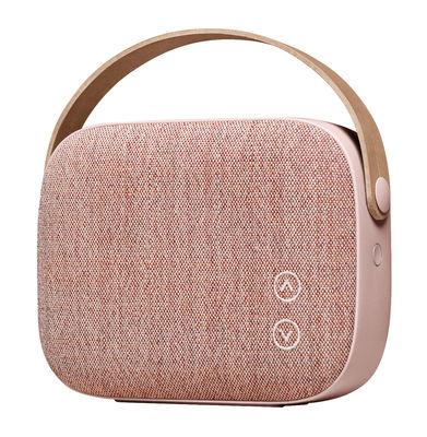 Enceinte Bluetooth Helsinki / Sans fil - Tissu & poignée cuir - Vifa vieux rose en cuir