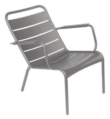 Fauteuil bas Luxembourg / Aluminium - Fermob gris/argent/métal en métal