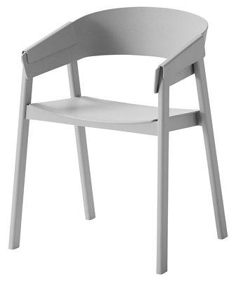 Mobilier - Chaises, fauteuils de salle à manger - Fauteuil Cover / Bois - Muuto - Gris - Frêne laqué