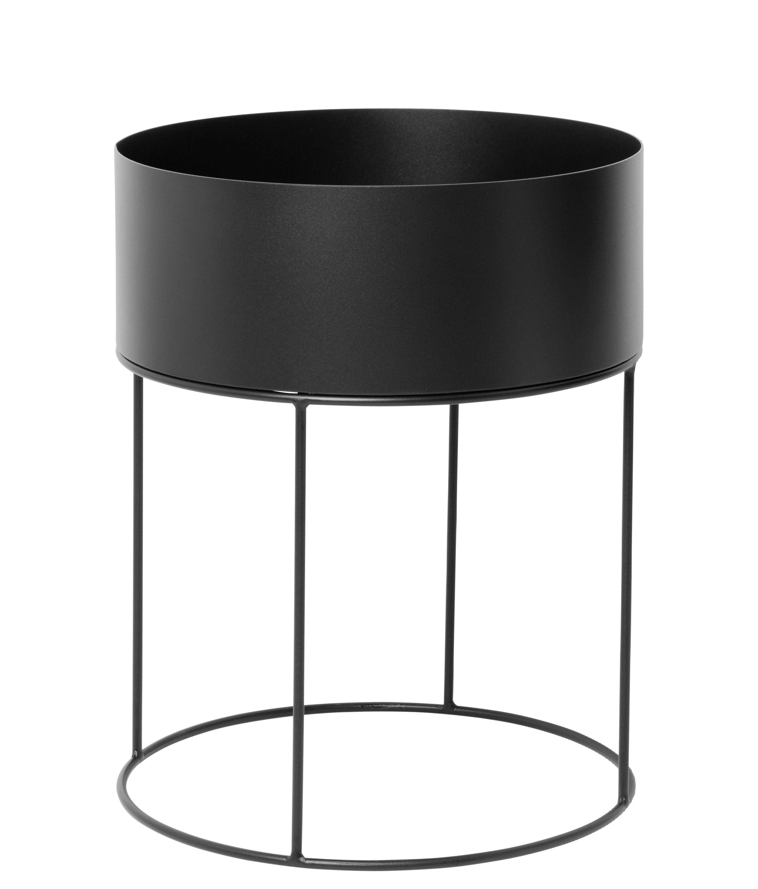 Déco - Pots et plantes - Jardinière Plant Box Round / Ø 40 x H 50 cm - Ferm Living - Noir - Métal laqué époxy
