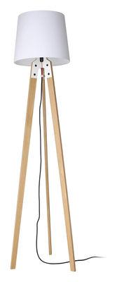 Lampadaire Stehleuchte n1 / H 178 cm - Artificial - Pop Corn blanc/bois naturel en métal/tissu/bois