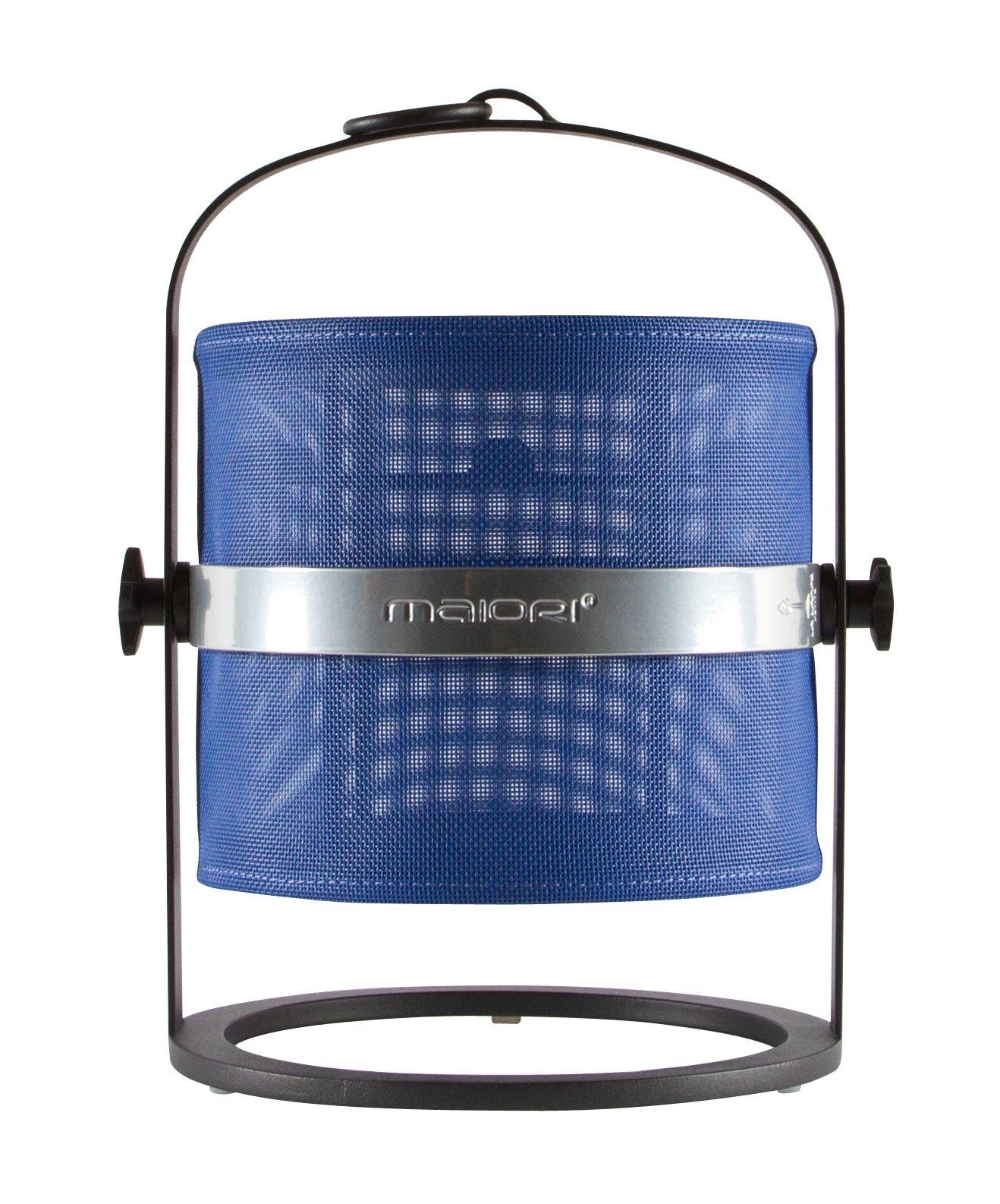 Luminaire - Lampes de table - Lampe solaire La Lampe Petite LED / Sans fil - Dock USB - Structure noire - Maiori - Bleu Marine / Structure noire - Aluminium, Tissu technique
