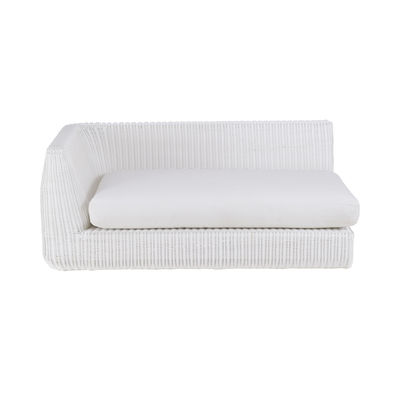 Outdoor - Garden sofas - Agorà Modular sofa - / Right armrest module - L 160 cm by Unopiu - White / Ecru white cushion - Acrylic fabric, Aluminium, Foam, Waprolace synthetic fibre