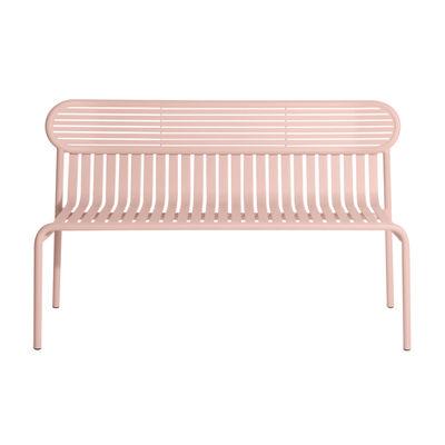 Arredamento - Panchine - Panca con schienale Week-End - / Alluminio - L 121 cm di Petite Friture - Rosa Blush - Alluminio termolaccato epossidico
