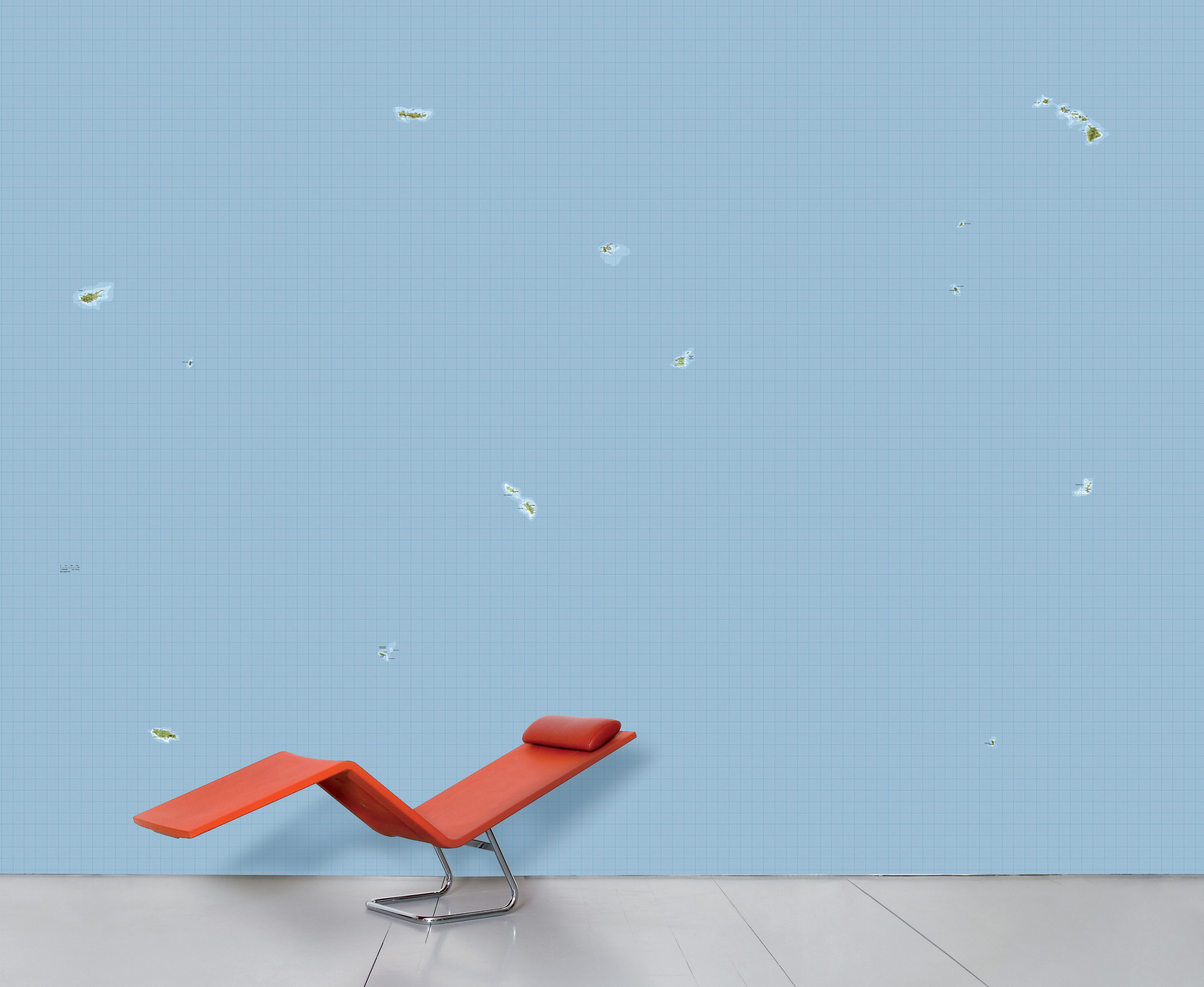 Dekoration - Stickers und Tapeten - WallpaperLab Isola Panorama-Tapete / 8 Bahnen - limitierte Auflage - Domestic - Isola / blau & Grün - imprägniertes Papier