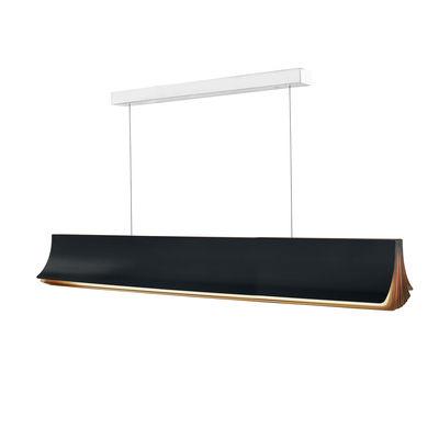 Lighting - Pendant Lighting - Respiro LED Pendant - / L 120 cm - Aluminium by DCW éditions - Black / Gold inside - Anodized aluminium