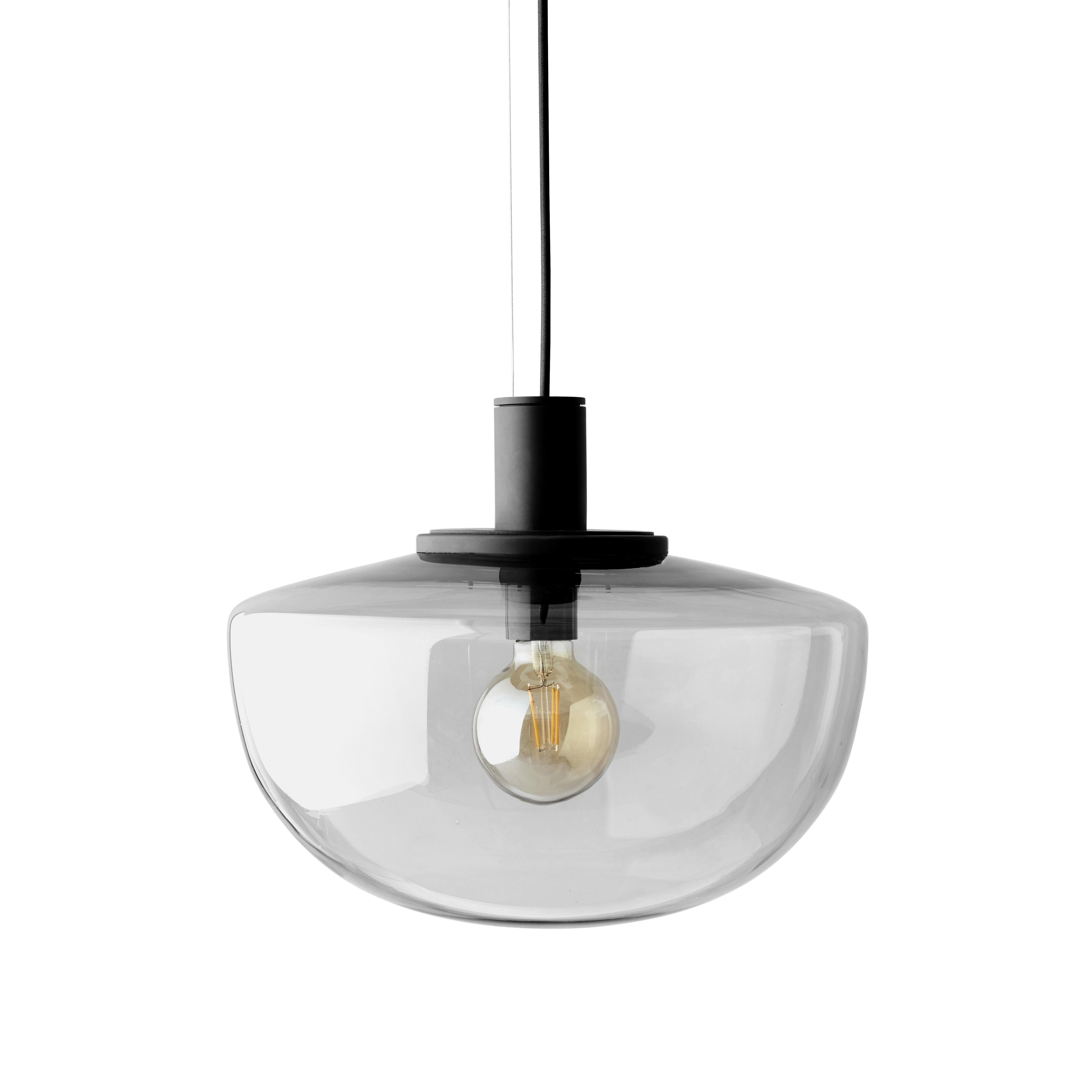 Illuminazione - Lampadari - Sospensione Bank - / vetro di Menu - Fumé - Alluminio laccato, Vetro soffiato a bocca
