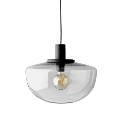 Luminaire - Suspensions - Suspension Bank / Verre - Menu - Fumé - Aluminium laqué, Verre soufflé bouche