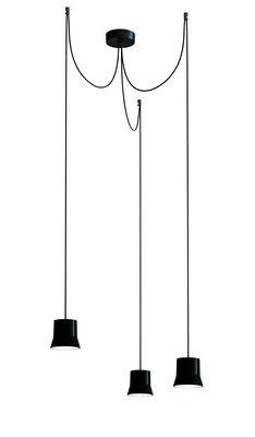Luminaire - Suspensions - Suspension Gio Light Cluster / LED - 3 abat-jours - Artemide - Noir / Câble noir - Aluminium, Verre