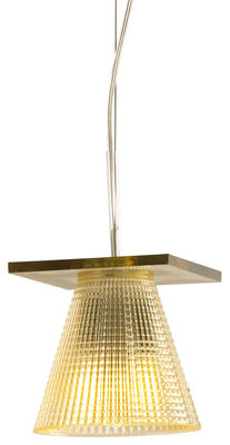 Luminaire - Suspensions - Suspension Light-Air / Abat-jour plastique sculpté - Kartell - Plastique ambre - Technopolymère thermoplastique