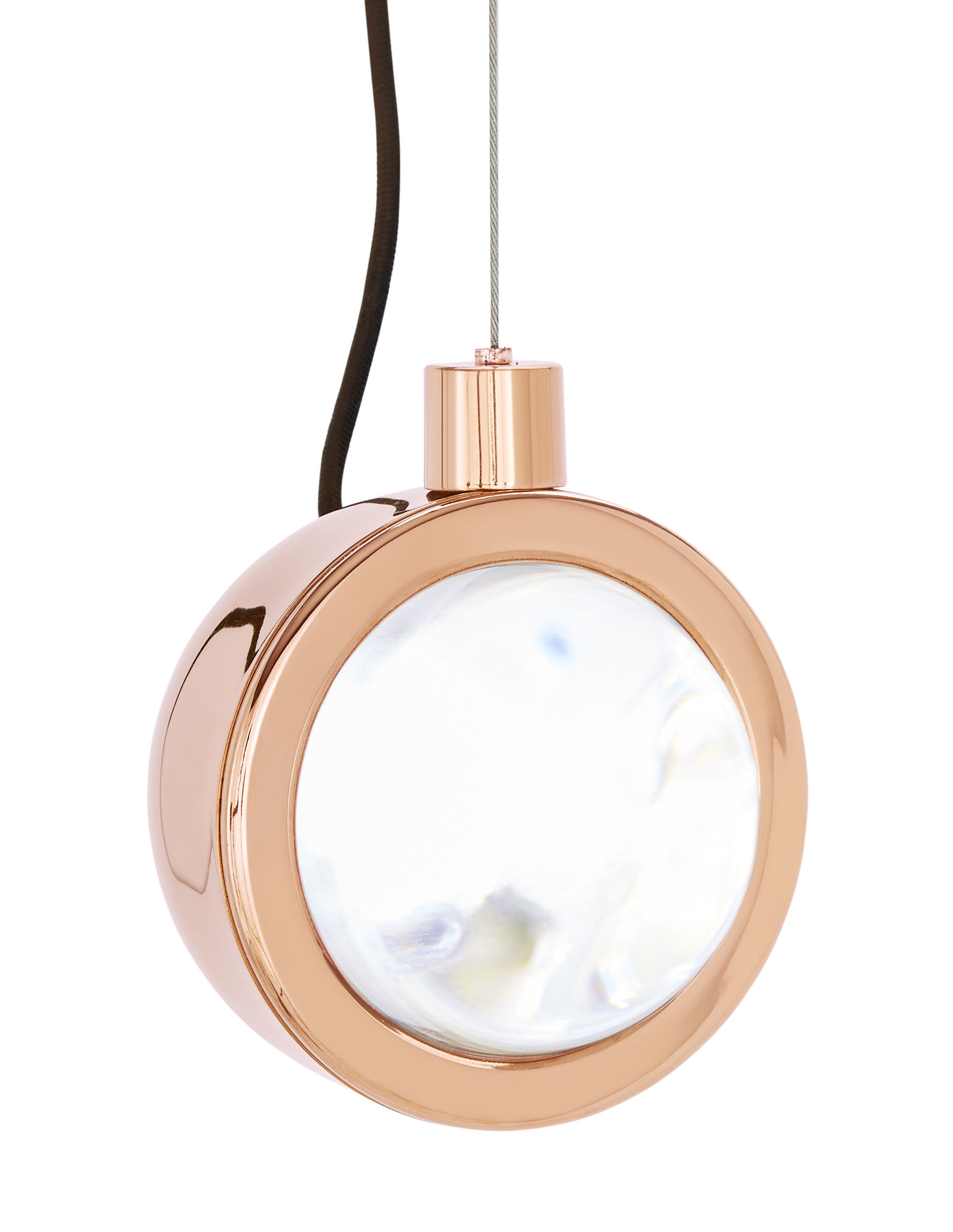 Luminaire - Suspensions - Suspension Spot LED / Orientable - Tom Dixon - Cuivre - Acier plaqué cuivre, Verre