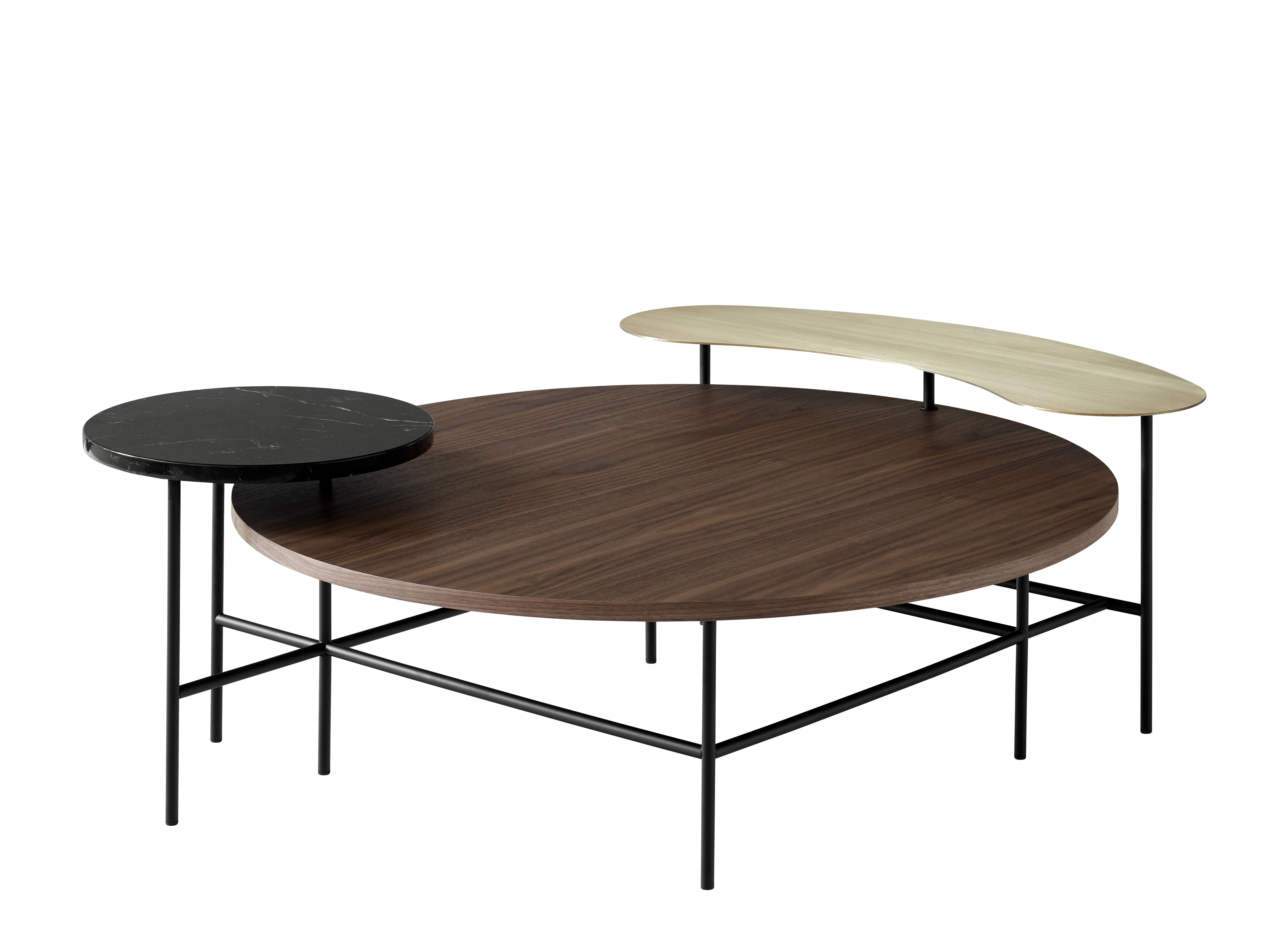 Mobilier - Tables basses - Table basse Palette JH25 / 3 plateaux - &tradition - Noir / Laiton / Bois naturel - Acier laqué époxy, Laiton, Marbre, Noyer