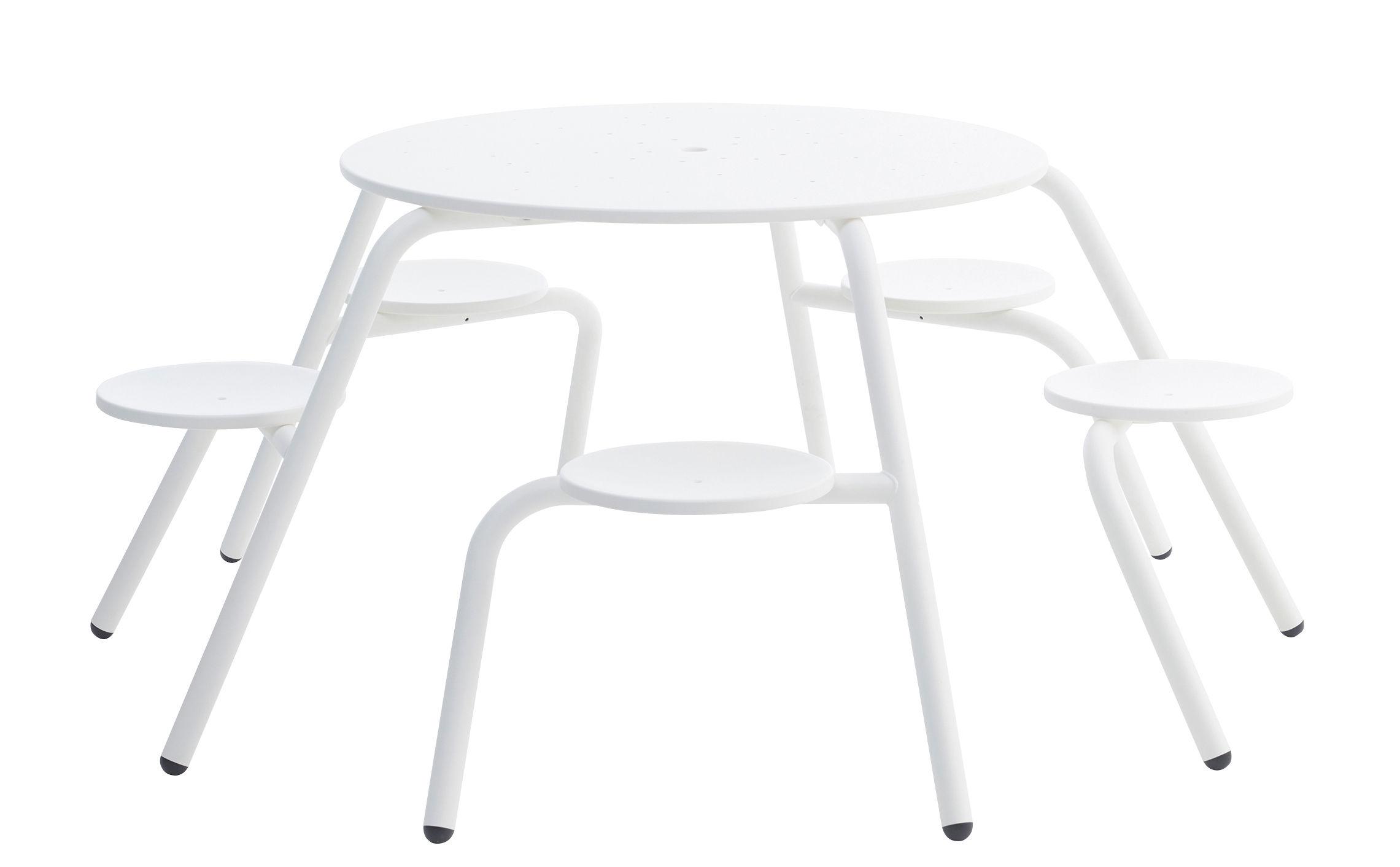 Table de jardin Virus / 5 places - Métal Blanc - Extremis | Made In ...