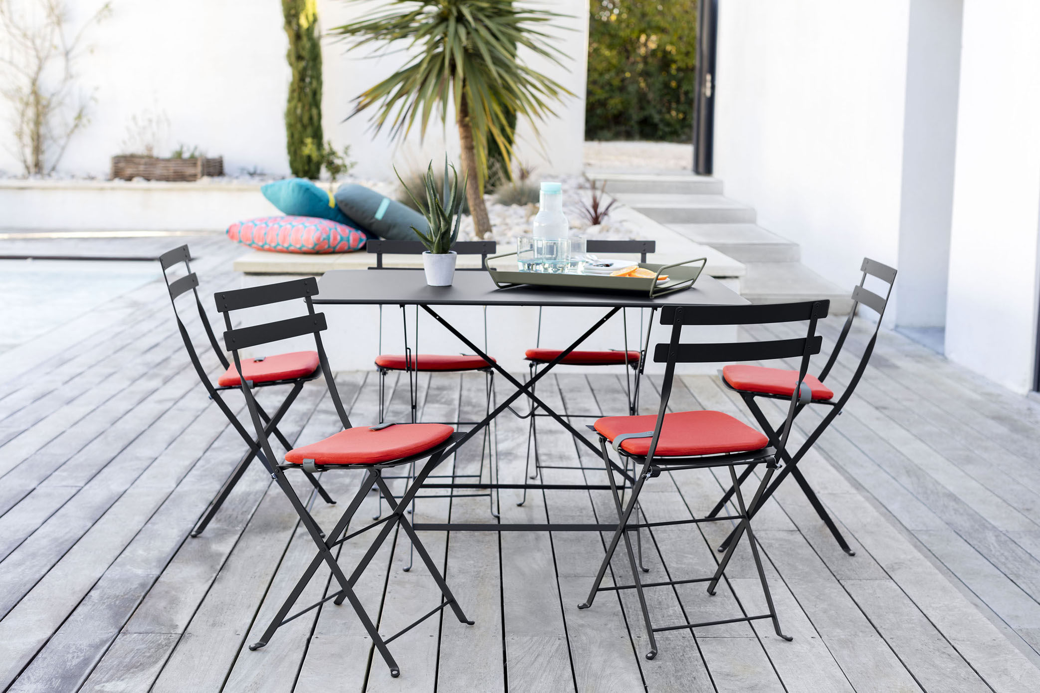 Table pliante Bistro Fermob - Ocre rouge - h 74 x Ø 41 | Made In Design