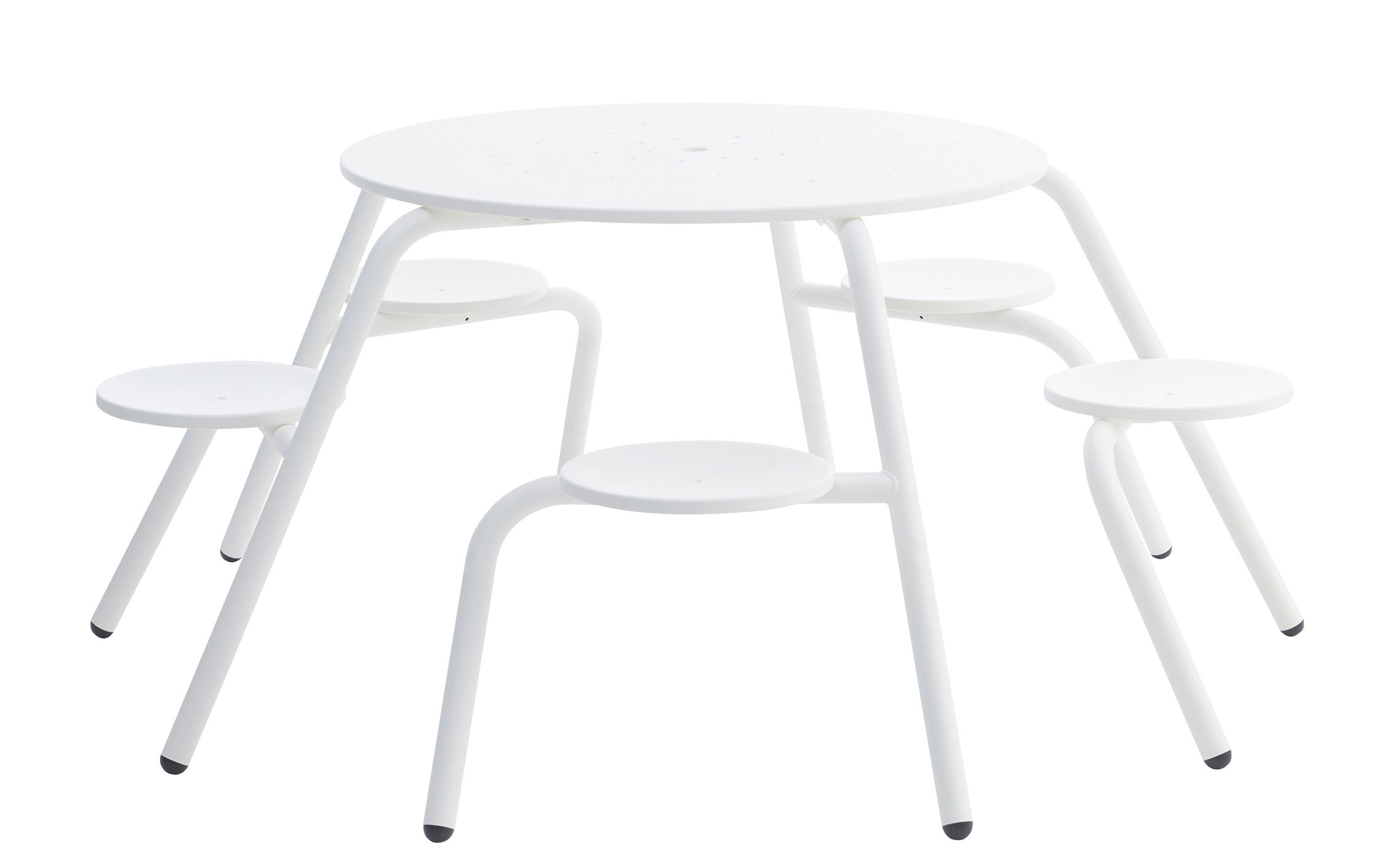 Outdoor - Garden Tables - Virus Table & seats set - 5 seats by Extremis - White - Zinc coated steel