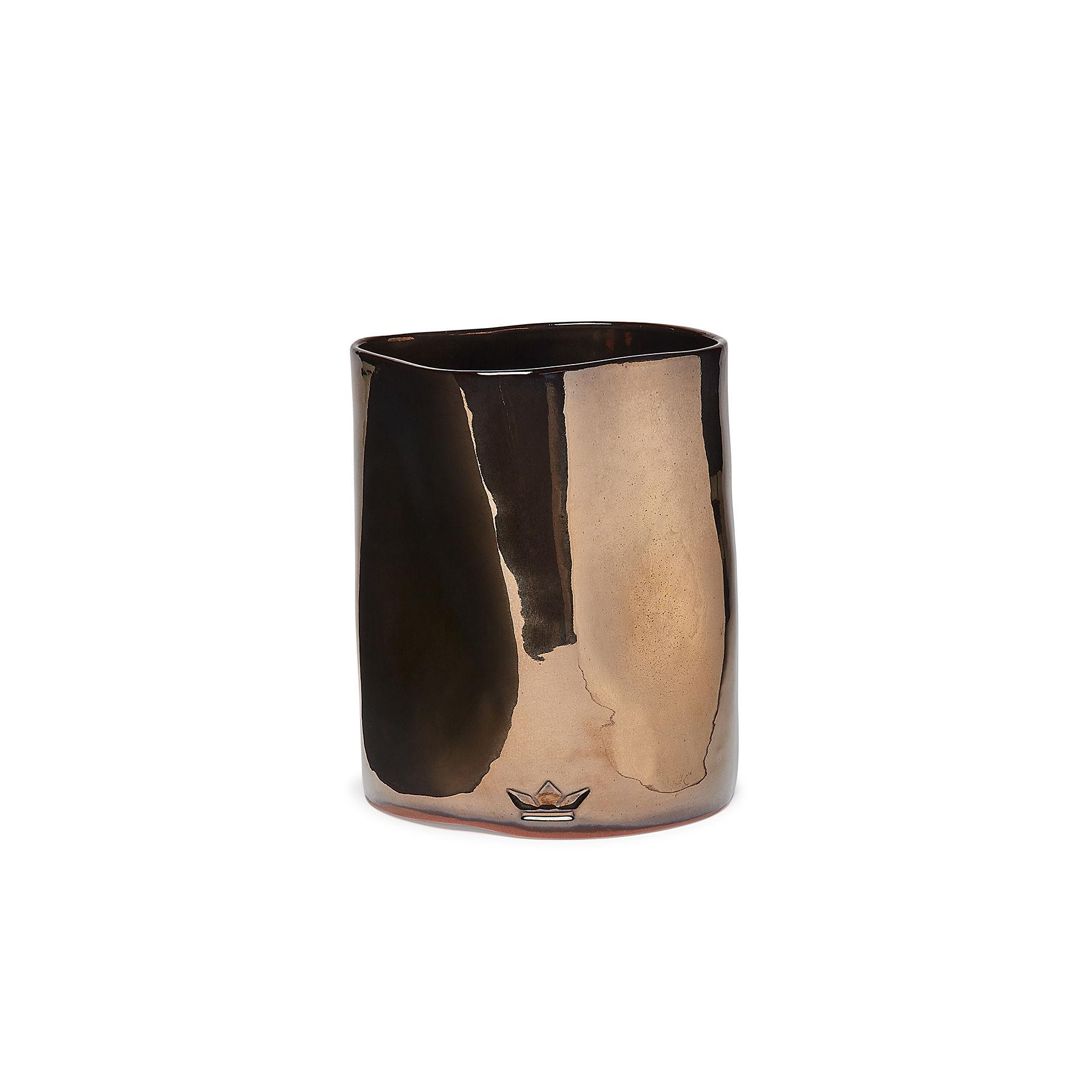Decoration - Vases - Bosselé Utensils pot - / Vase - Ø 14.5 x 19 cm - Ceramic by Dutchdeluxes - Shiny platinum - Ceramic